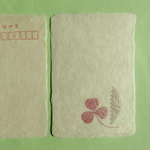 画像1: 美濃和紙 葉入り耳付はがき(藤田工房)3枚 (1)